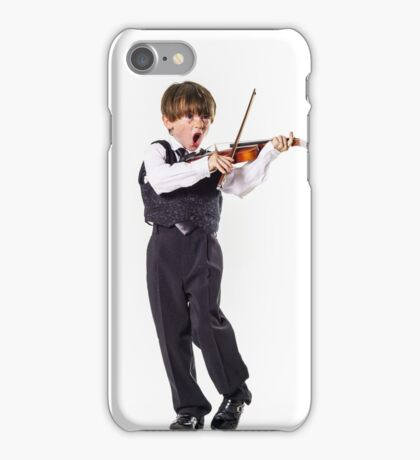 Red-haired preschooler boy with violin, music education iPhone Case/Skin