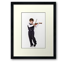 Red-haired preschooler boy with violin, music education Framed Print