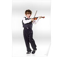 Red-haired preschooler boy with violin, music education Poster