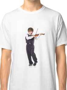 Red-haired preschooler boy with violin, music education Classic T-Shirt
