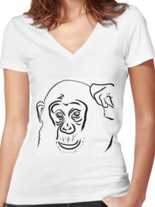 Year of the Monkey 2016 : Chinese Zodiac Sign  Women's Fitted V-Neck T-Shirt