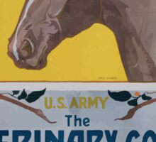 Are you fond of horses US Army The Veterinary Corps instructs you in their care and treatment riding and driving Sticker