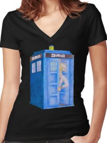 Doc and his Tardis Women's Fitted V-Neck T-Shirt