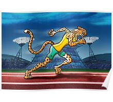 Olympic Runner Cheetah Poster