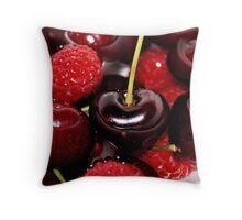 Cherries in the Raspberries Throw Pillow