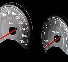Speed control dashboard in modern luxury car, macro view by Alexander Sorokopud