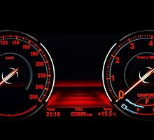 Modern luxury sport car. Speed control dashboard. by Alexander Sorokopud