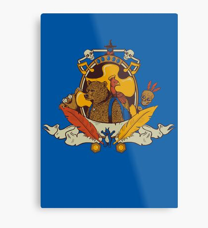 Bear & Bird Crest Metal Print