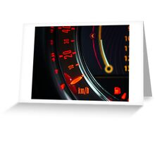 Elegant speed control dashboard by modern sport car Greeting Card