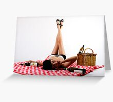 wine pin up Greeting Card