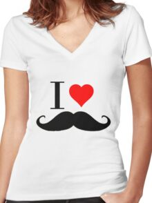 ILOVEMUSTACHE Women's Fitted V-Neck T-Shirt