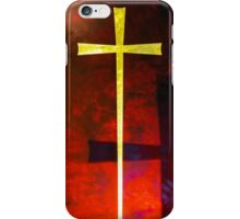 Gold cross on red background. Religious symbol. iPhone Case/Skin