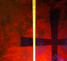 Gold cross on red background. Religious symbol. by Alexander Sorokopud