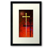 Gold cross on red background. Religious symbol. Framed Print