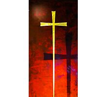 Gold cross on red background. Religious symbol. Photographic Print