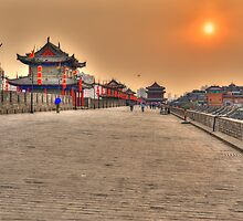 Sunset over Xi'an city wall by Susan Dost