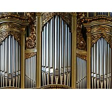 Beautiful old organ decorated by gold in the village church Photographic Print