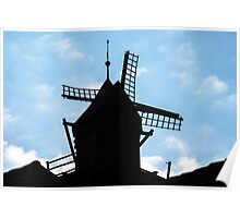 Old mill silhouette on the sky background at sunset Poster