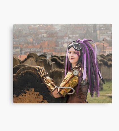 Purple Hair Metal Print