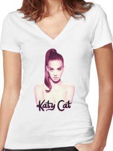 KATY CAT <3 Women's Fitted V-Neck T-Shirt