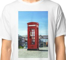 Red telephon box on the street. Porto, Portugal Classic T-Shirt