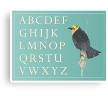 Blackbird with Alphabet Canvas Print