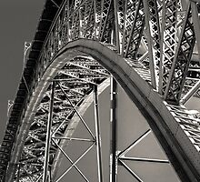 View of majestic bridge Dom Louis from Eiffel in Porto (river Douro,Portugal) by Alexander Sorokopud