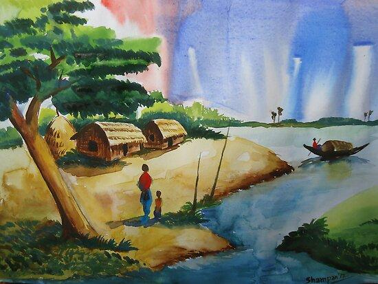 Village landscape of Bangladesh by Shakhenabat Kasana