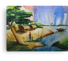 Village landscape of Bangladesh Canvas Print