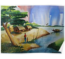 Village landscape of Bangladesh Poster