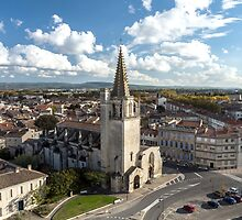 Tarascon birdfly view from the top of castle. France. by Alexander Sorokopud
