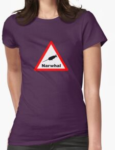 Warning Narwhal Womens Fitted T-Shirt
