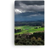 Stormy weather landscape with beautiful light, Tuscany, Italy Canvas Print
