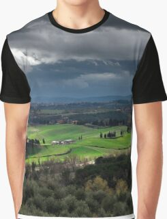 Stormy weather landscape with beautiful light, Tuscany, Italy Graphic T-Shirt