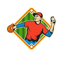 Baseball Player Pitcher Throwing Ball by patrimonio