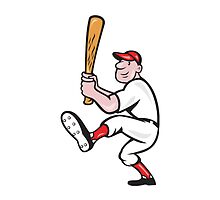 American Baseball Player Batting Cartoon by patrimonio