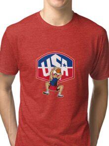 Basketball Player Dunking Ball USA Tri-blend T-Shirt