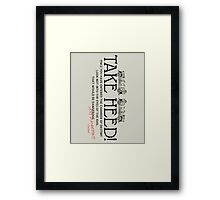 Transport Warning Framed Print