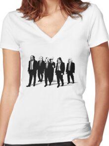 RESERVOIR FOES b&w Women's Fitted V-Neck T-Shirt