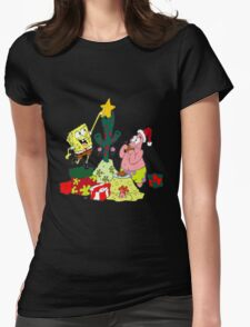 Merry Christmas From Spongebob Womens Fitted T-Shirt