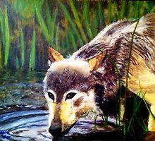 Drinking Wolf by tikaaniwicker