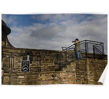 Tourist with camera at Edinburgh Castle Poster