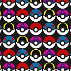 Pokeball Pattern -  Black by RubyTruffles