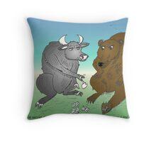 Taureau et Ourse en caricature Throw Pillow
