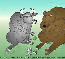 Bull and Bear toss an apple for money by Binary-Options