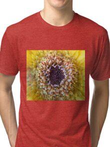 Macro Yellow Flower Center Tri-blend T-Shirt