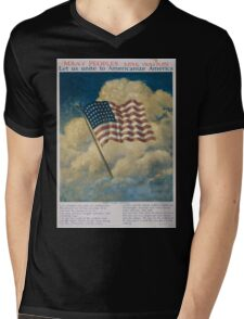 Many peoples one nation Let us unite to Americanize America 002 Mens V-Neck T-Shirt