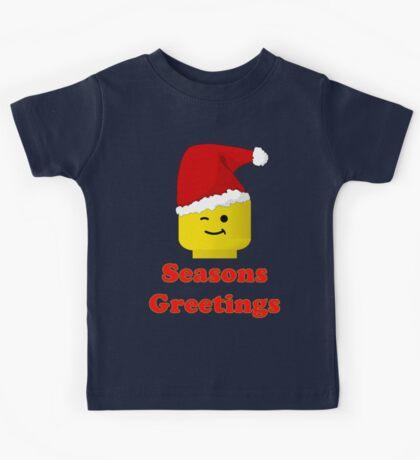Santa Minifig Seasons Greetings by Customize My Minifig Kids Tee