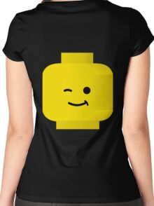 Minifig Winking Head by Customize My Minifig Women's Fitted Scoop T-Shirt