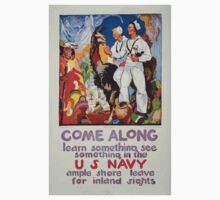 Come along learn something see something in the US Navy Ample shore leave for inland sights Kids Tee